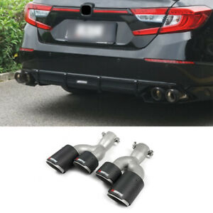 For Honda Accord 2018-2021 Carbon Fiber Steel Rear Tail Exhaust Muffler Tip Pipe