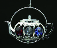 SWAROVSKI COLOR CRYSTAL STUDDED TEAPOT FIGURINE ORNAMENT SILVER PLATED