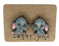 Baby Elephant Earrings Painted - Natural Basswood - Hypoallergenic Titanium Stud