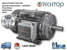 60 HP Electric Motor, GEN PURP, 1200 RPM, 3-Phase, 404T, Cast Iron, NEMA Prem