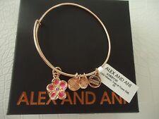 Alex and Ani TROPICAL FLOWER Bangle Bracelet Shiny Rose New W/Tag Card & Box