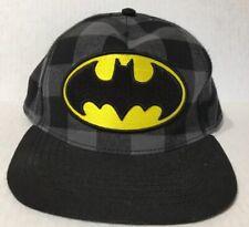 Batman Snapback Baseball Cap Black Plaid Buffalo DC ComIcs Hat Yellow Flat Bill