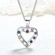 Kindee Halskette echt 925 Silber Herz Sterling Zirkonia Anhänger Kinder 40 cm