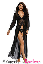 Sheer Long Sleeve Lace Robe with Thong Gown Dress Costume Women sexy club Fancy