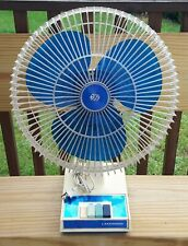"VTG 1980's LAKEWOOD 1200 BLUE BLADE FAN 12"" OSCILLATING 3-SPEED LEXAN CAGE Works"
