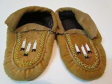 NATIVE AMERICAN BEADED MOOSE CHILD MOCCASINS 6 INCHES