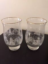 ARBY'S WHITE CHRISTMAS ETCHED GLASSES SET OF TWO
