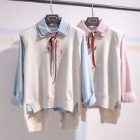 Korean 2Pcs Women Loose Tops Shirt + Vest Ladies Casual Blouse Sleeveless Jacket