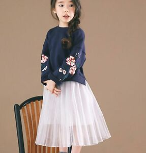 NEW with tag Girl Children Navy embroidery Tops Jumper+ white Lace skirt set 8-9