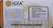 GIA Cert 0.50ct CUSHION cut diamond NATURAL FANCY LIGHT YELLOW SI-2. SEALED.