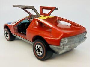 1973 C9 Hot Wheels Redline MERCEDES BENZ C111 Red Flying Colors GULL WING DOORS!