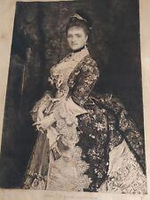 Pointe sèche portrait Mme Bischoffsheim gravé par Charles Waltner cira 1880