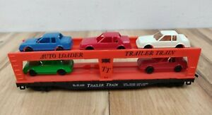 TYCO HO scale TRAILER TRAIN SL-SF 2530 AUTO LOADER with 5 1970's Cars