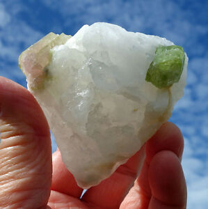 Watermelon Tourmaline Pink & Green Clear Quartz Crystal Specimen Stone For Sale