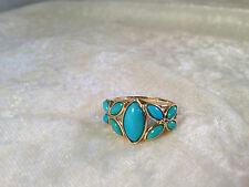 SLEEPING BEAUTY TURQUOISE FLORAL DESIGN RING, 14K YELLOW GOLD, SZ 10 (M235-3-20)