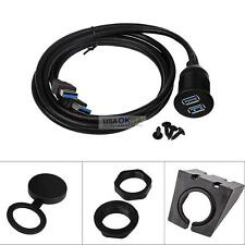 2 Port Dual USB 3.0 Male to Female AUX Extension Flush Mount Cable Car Dashboard
