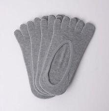 4x Pairs Low Cut 5 Fingers Toe Socks Men in GREY for FILA Skele Shoes