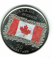 2015 Canadian Brilliant Uncirculated Commemorative Colored flag Twenty 25 Cent!