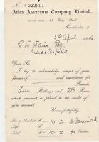 Atlas Assurance Company Ltd Manchester 1936 Acknowledge Receipt Letter Ref 37143