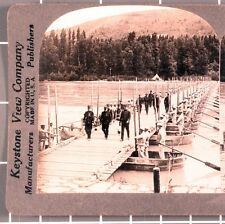 WWI Stereoview card:   French Officers Inspect Pontoon Bridge
