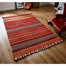 Kelim Ethnic Style Rug Red Stripes in various sizes and hall runner