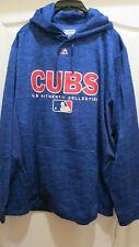 Majestic Royal Blue Cubs Baseball Hoodie Sweatshirt-- Men's Large