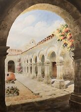 Beautiful Watercolor Mediterranean Scene, Signed & Condition. High Quality NICE!