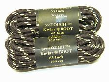 2 Pair Brown w/ Yellow Boot laces Shoestrings Round Heavy Duty made with Kevlar