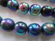 V701--100pcs Super VINTAGE West German Peacock Sheen 8mm Glass Beads!