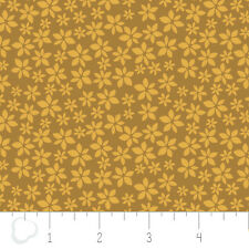 Magnolia Floral Calico in Dark Mustard Double Gauze Cotton fabric by the yard