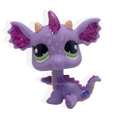 Littlest pet shop #2660 violet & rose sparkle glitter dragon aux yeux verts lps