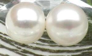 Large 16-17mm AAA++ white south sea natural pearl earrings 14k yellow gold STUD