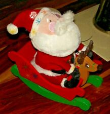 Musical Plush Santa on Wooden Reindeer Sleigh