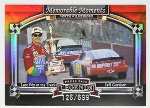 JEFF GORDON 2006 06 PRESS PASS LEGENDS MEMORABLE MOMENTS INSERT CARD #11 126/699