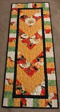 "Hand Made Quilted Table Runner/Topper ~ 17 1/2"" x 42"" ~ 100% Cotton ~ Floral"