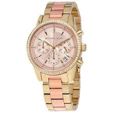 Michael Kors MK6475 Ritz Rose Gold Dial Ladies Chronograph Stainless Steel Watch