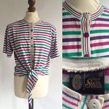 VINTAGE 1980s C&A Sesto Senso Cravatta a Righe T-Shirt Top Taglia 12 Rosa Verde Viola