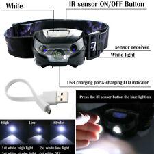 3000LM LED IR Sensor Headlamp USB Rechargeable Waterproof Outdoor Headlight