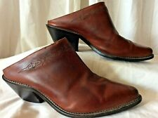 Code West Western Brown Leather Mules Slipon Shoes Cowboy/girl Women's 6.5m Vguc