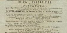 *BOOTH DYNASTY: GREAT ACTOR JUNIUS BRUTUS BOOTH RARE ORIGINAL 1817 BROADSIDE*