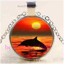 Jumping Dolphin Cabochon Glass Tibet Silver Chain Pendant Necklace