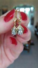 Pretty 9ct Gold Diamond Earrings. Lever Back