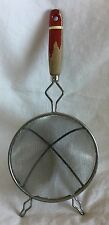 Primitive Kitchen Mesh Screen Colander Strainer With Red Painted Wood Handle