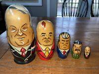 Vintage Traditional Wooden Russian Nesting 5 Dolls Matryoshka Russian Presidents