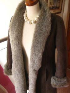 PRINCIPLES long faux fur suede sheepskin teddy COAT UK 10 8 petite fur collar