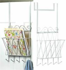 Over the Door * Hanging Door Rack W/ 5 Hooks *Magazines, Personal Storage* Nib