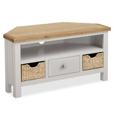 Farrow Grey Corner TV Stand with Baskets / Stone Painted TV Unit / Solid Wood