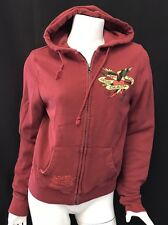Ed Hardy Burgundy Red Hoodie Sweatshirt FULL ZIP MEDIUM CHRISTIAN AUDIEGIER