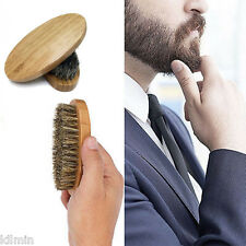 Mens Boar Hair Bristle Beard Mustache Brush Military Hard Round With Wood Handle