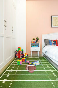 """2'2""""x6' Football Field Ground Kids Play Area Rug Anti Skid Rubber Backing 705"""